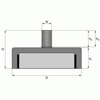 9 kg Magnet mit Au/ßengewinde Gewinde M6x10 Topfmagnet NdFeB verzinkter Stahltopf Neodym Flachgreifer /Ø 20,0 x 6,0 mm