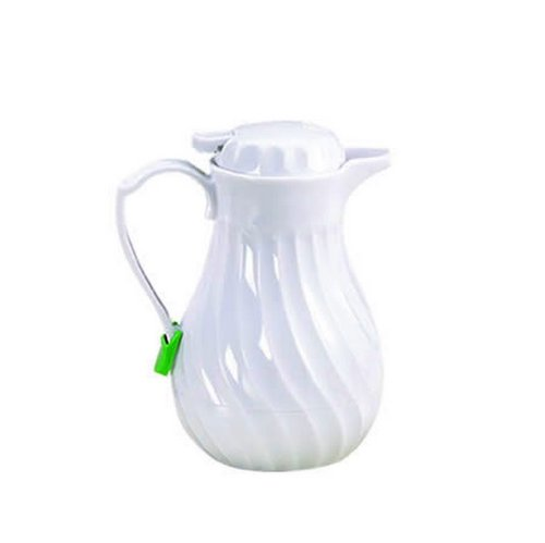 Tablecraft 20 oz  White Swirl Beverage Server | Insulated Coffee Carafe with Thumb Press | Commerical Quality for Restaurant Use