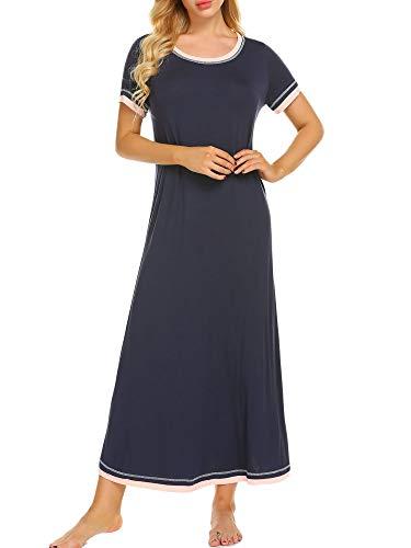 Ekouaer Nightshirt Womens Soft Sleepwear Casual Loungewear Short Sleeve Long Nightgown,Navy,Small