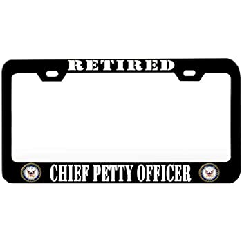 Usn Chief Black Metal License Plate Frame Tag Holder