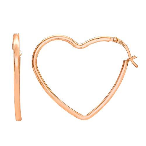 (Ellen Tracy Jewelry Sterling Silver Pink Gold Plated Heart Hoop Earrings)