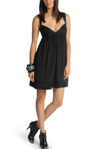 Miss Sixty vestido Dress Tirantes vestido Babydoll Talia satén negro) negro