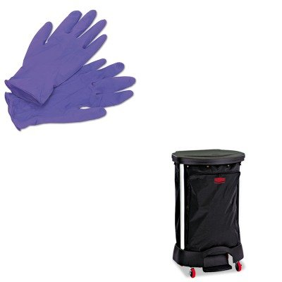 KITKIM55082RCP6350BLA - Value Kit - Linen Hamper Bag, 30 Gallon (RCP6350BLA) and KIMBERLY CLARK PURPLE NITRILE Exam Gloves ()