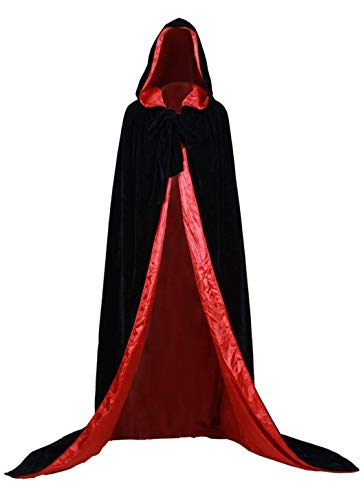 Dannifore Unisex Hooded Cloak Halloween Cosplay Costumes Full Length Velvet Cape Black+Red,2XL