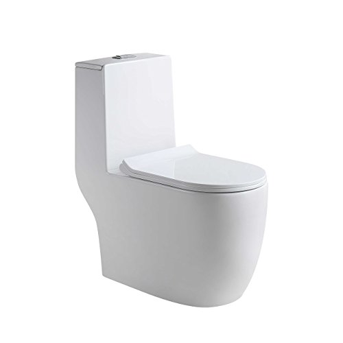 Homture HT-001 Toilet Dual Flush Elongated Bowl High Efficiency Modern Style Soft Closing Seat (Closing Quiet Elongated Seat)