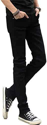 c06f6c0874c12d QSQKI Jeans for Men Stretch Solid Black Skinny Casual Denim Slim Fit Long  Trousers