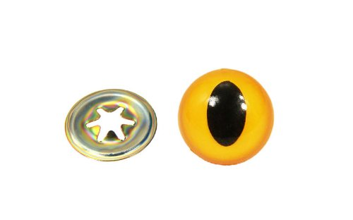 Animal Cat Eyes with Black Centers & Metal Washers Yellow (Yellow Animal Eyes)