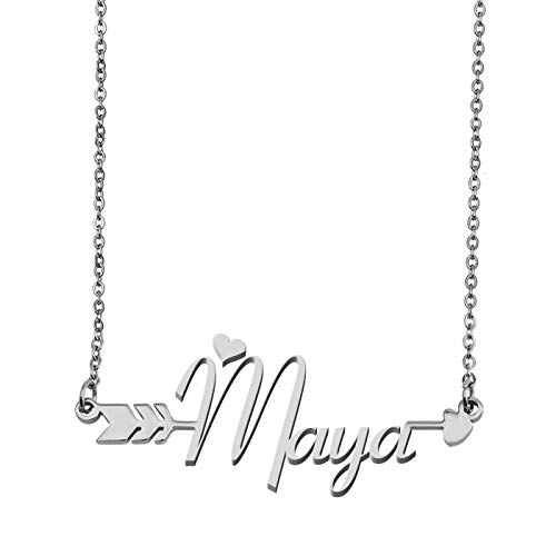 Letter Nameplate Pendant (Aoloshow Customized Custom Name Necklace Personalized - Custom Maya Initial Name Handwriting Nameplate Necklace Arrow Pendant Gift for Womens Girls)