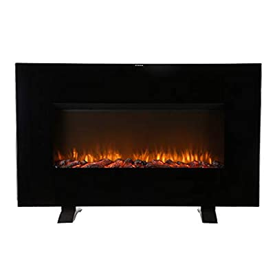 "HYD-Parts 38"" Electrical Fireplace Stove with Heater,Wall-mounted tempered glass panel Heater for winter,120V 1500W"