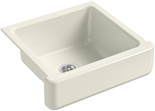 2in Depth Single Bowl Sink - KOHLER K-5664-96 Whitehaven Self-Trimming 23-1/2-Inch x 21-9/16-Inch x 9-5/8-Inch Undermount Single-Bowl Kitchen Sink with Short Apron, Biscuit