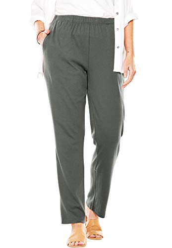 (Woman Within Women's Plus Size Petite 7-Day Knit Straight Leg Pant - Olive Grey, M)