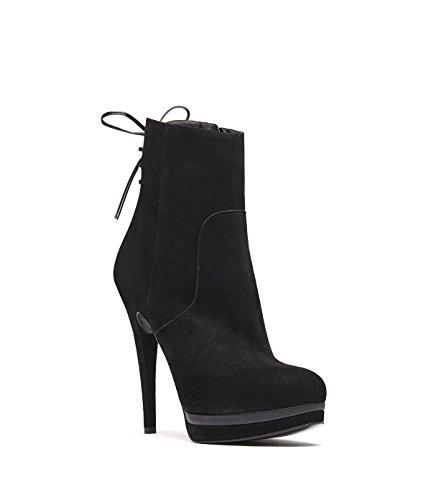 PoiLei Edita - chaussure femme / bottines en cuir à talon aiguille haut - compensé avec bout rond noir