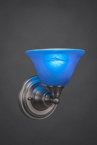 Italian Contemporary Sconce - Toltec Lighting 40-BN-4155 One Light Wall Sconce, Brushed Nickel Finish with Blue Italian Glass