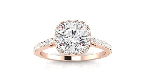 1.85 Cttw 14K Rose Gold Round Cut Gorgeous Classic Cushion Halo Style Diamond Engagement Ring with a 1.5 Carat I-J Color I2 Clarity Center