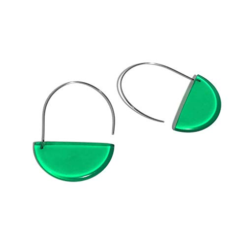 Kelly Green Modern Half Circle Basket Hoop Wire Earrings ()