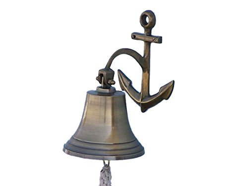 "Antique Brass Hanging Anchor Bell 10""- Brass Bell- Decorative Anchor"