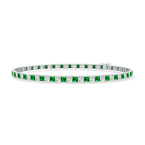 Princess-Cut Diamond and Emerald Tennis Bracelet in 14K White Gold (2.2mm Emerald)