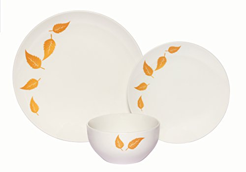Melange Coupe 18-Piece Porcelain Dinnerware Set | Gold Leaves Collection | Service for 6 | Microwave, Dishwasher & Oven Safe | Dinner Plate, Salad Plate & Soup Bowl (6 Each)