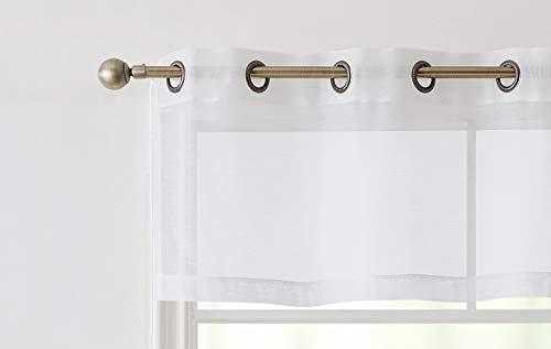(HLC.ME 2 Piece Premium Sheer Voile Window Grommet Short Curtain Valance Panels for Bathroom & Kitchen - 54