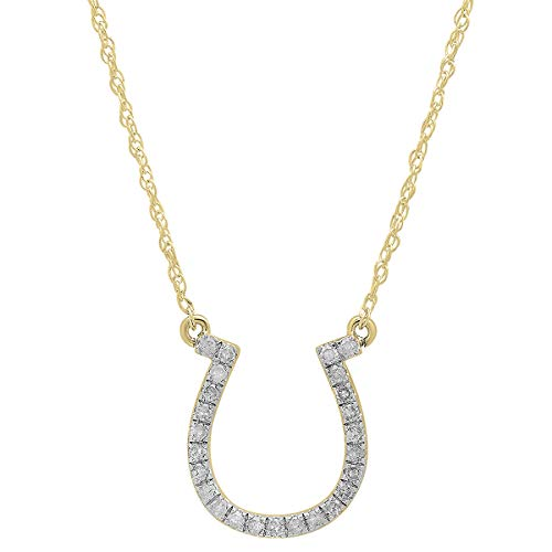 Dazzlingrock Collection 0.22 Carat (ctw) 18K Round Lab Grown White Diamond Ladies Horseshoe Pendant 1/4 CT, Yellow Gold
