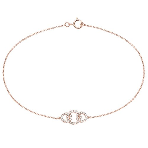 14K Rose Gold Bracelet with 0.20 Cttw Diamonds by Metro Jewelry
