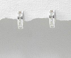Tiny CZ Ear Huggers Sterling Silver Huggie Hoop Earrings