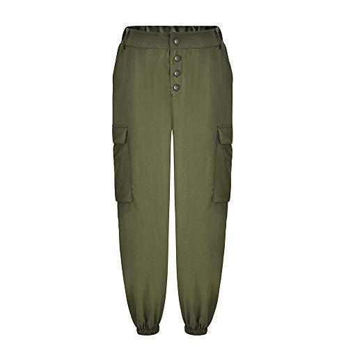 POQOQ Pants Women High Waist Harem Pants Elastic Waist Stripe Casual L Army Green