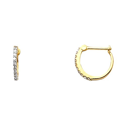 Solid 14k Yellow Gold Huggie Hoop Earrings CZ Huggies Round Pave Set French Lock Fancy Small 12 mm
