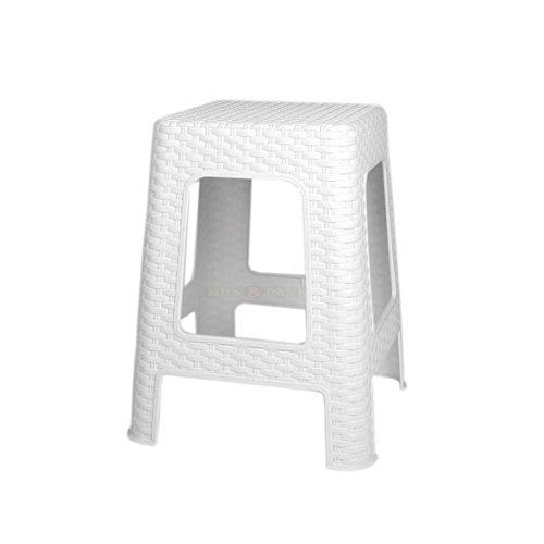 Hocker 45x28x28 cm Weiß in Flechtoptik Rattanoptik Rattan Optik Sitzhocker Hocker Rattan Optik Kunststoff Badhocker Küchenhocker
