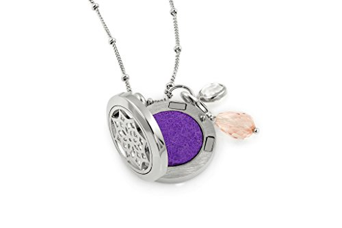 """1 Silver Dreamcatcher Essential Oil Diffuser Necklace - Aromatherapy Jewelry - Hypoallergenic 316L Surgical Grade Stainless Steel, 20.8"""" Chain + 9 Washable Insert Pads + Charms"""