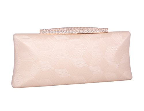Womens Bagg Beaded Party Pink Rhinestone Clutch Gold Evening Simple Adoptfade Shoulder Purse OxqU6Uw