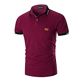 YIPINEU Mens Short Sleeve Polo Shirts Contrasting Colors Golf Tennis T-Shirt