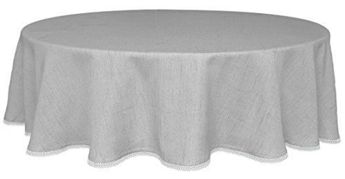 "Lenox French Perle Solid 70"" Round Tablecloth, Dove Grey"