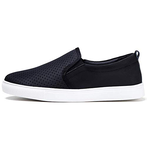 HKR Slip On Work Shoes for Women Comfortable Fall Casual Leather Sneakers 6 US Black(FY506heise36)