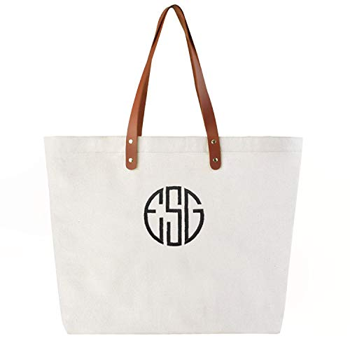 PERSONALIZED Custom Gift Jumbo Tote Monogram Initial Circle Embroidery Shoulder Bag with Interior Zip Pocket Canvas