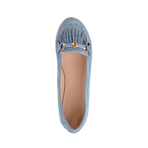 Elara Damen Ballerinas | Bequeme Slip-Ons | Flache Freizeitschuhe | Chunkyrayan Blau