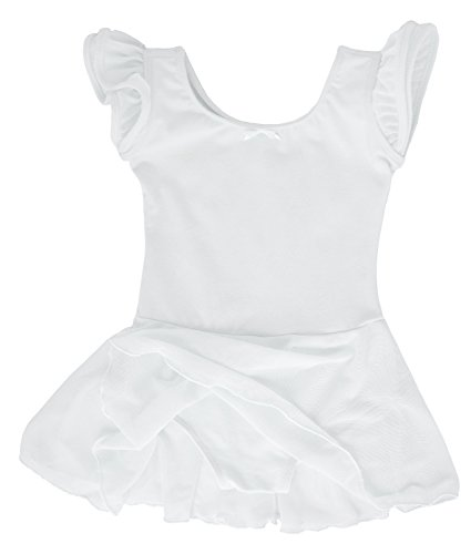 Dancina Leotard Dress Classic Flutter Sleeve Girls Toddlers Cute Princess Birthday Gift 2-3T White (Dance Praise Uniforms)