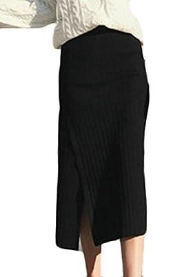Fulok Women's Fashion High Waist Bodycon Knitted Side Split Midi Skirt