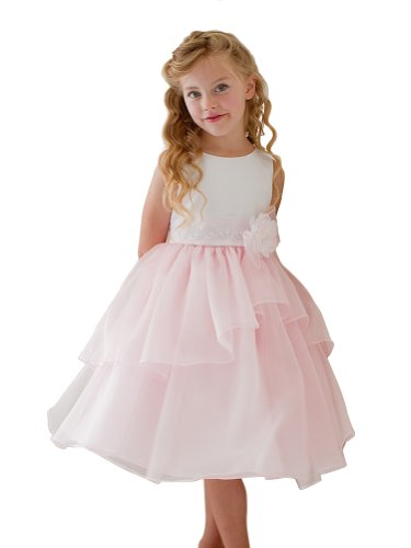 Kids Collection Sleeveless Satin Bodice Mirror Organza Girl Dress-White/Pink-10