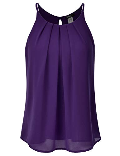 - EIMIN Women's Crewneck Pleated Front Double Layered Chiffon Cami Tank Top Plum M