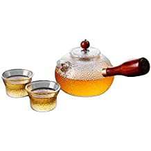 ZHAOSHUNLI Teapot Glass High Temperature Household Filter Side Pot Pot Japanese Style Hammer Pattern Thickening Flower Teapot Small Cup Set (Color : 1 pot and 2 cups)