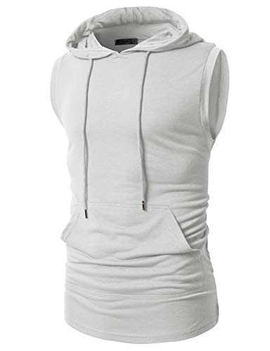 H2H Mens Casual Slim Fit Hooded Tank-top White US