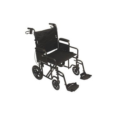 """Roscoe Medical KT2212B Transport Wheelchair with 12"""" Rear Wheels and 22"""" Seat, Silver Vein"""