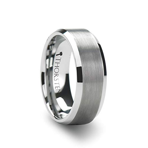 Thorsten Sheffield | Tungsten Rings for Men | Tungsten | Comfort Fit | Wedding Ring Band with Polished Beveled Edges and Matte Brushed Finished Center - 6mm ()