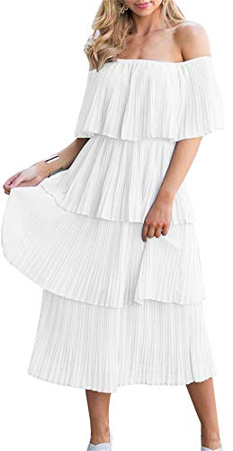 (ETCYY NEW Women's Off The Shoulder Sleeveless Tiered Ruffle Pleated Casual Midi Dress White)