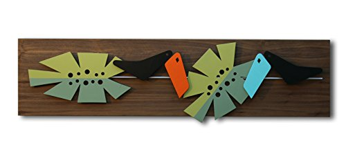 Mid Century Modern Wall Art: IN THE JUNGLE - Painting, Hanging Sculpture - Abstract Wood and Metal Artwork in 3D by Atomic Pad