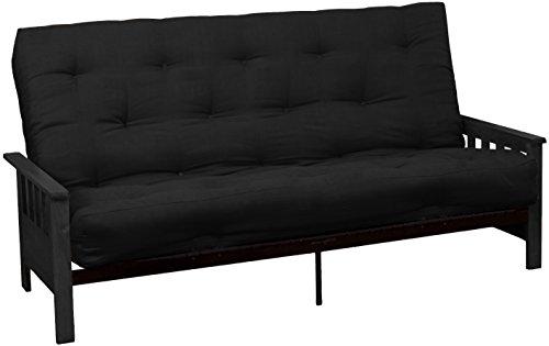 Epic Furnishings Berkeley 10-inch Loft Inner Spring Futon Sofa Sleeper Bed, Queen-size, Black Arm Finish, Microfiber Suede Ebony Black Upholstery