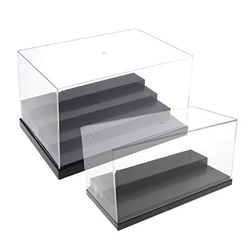 Case Stackable Display Diecast (Fityle 2pcs Clear Acrylic Display Case Box with Removable Step Stage Base for Action Figures Toy Vehicle Model Stone Home Display Black)