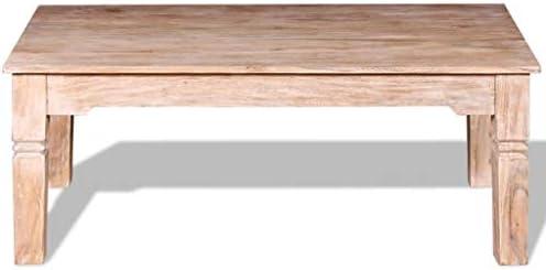 tiauant Mesa Baja de Madera de dádacia 110 x 60 x 45 cm. Material: Madera de Dacia Maciza con un Acabado Blanco Cepillado. Mesa Baja para jardín: Amazon.es: Hogar