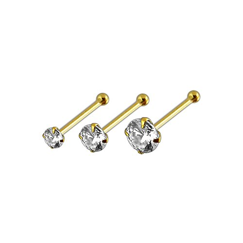 Stone Pin Ball End Nose - 3 Pieces Pakc of 14ct Solid Yellow Gold Claw Set CZ Stone 22 Gauge Ball End Nose Pin Nose Stud